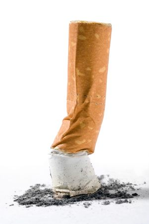 small cigarette end isolated over white background