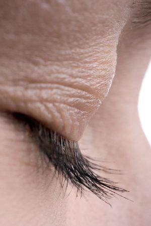 bodyscape: woman close-up eye eyelashes and skin Stock Photo