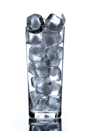bocal: glass bocal with ice brick on white background Stock Photo