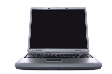 laptop with black screen isolated over white background photo