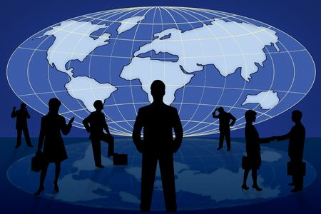 silhouette business people on blue world map photo