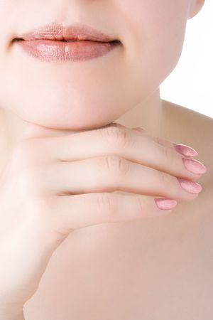 крупные планы: close-ups part face girl has rested a chin about a hand over white background