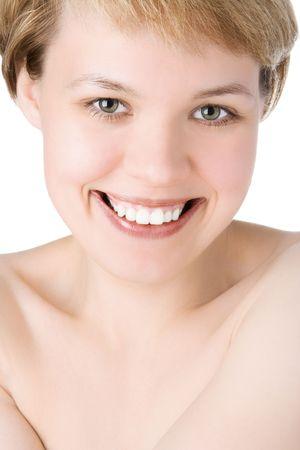 bodyscape: close-ups happy  beauty woman portrait over white background