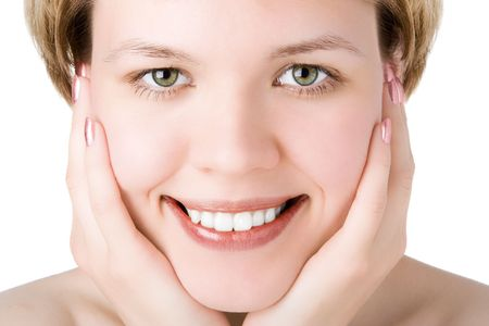 bodyscape: close-ups girl holds the joyful face palms of hands for both cheeks over white background Stock Photo