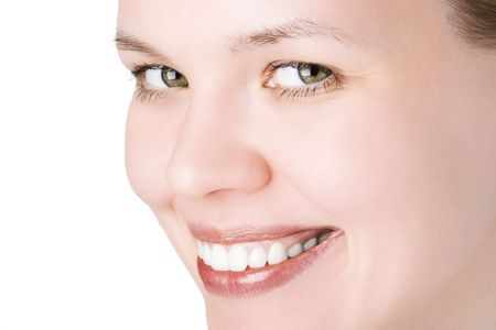 bodyscape: close-ups joyful face girl looks in staff and wide smile white teeth over white background