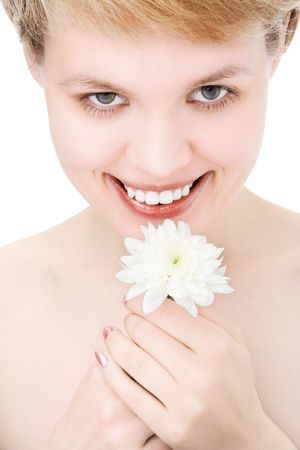 bodyscape: close-ups lovely woman smile portrait with white  white chrysanthemum in hand