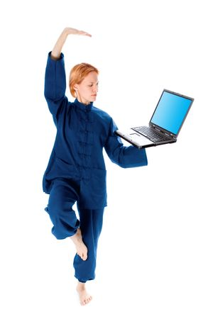 young woman in kimono attend yoga with laptop on white background photo