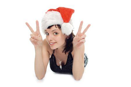 sorcery: beauty Mrs Santa Claus on white background Stock Photo