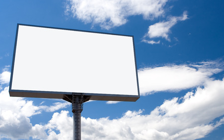 adboard: white bill board advertisement under blue  sky with clouds