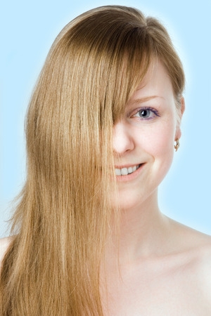 spa beauty girl close-up portrait on blue Stock Photo - 1398579