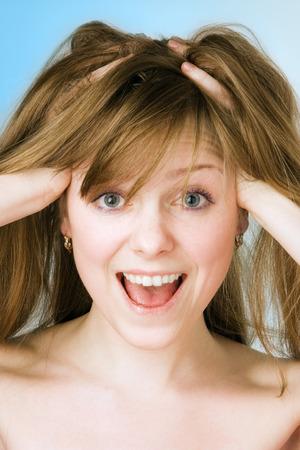 spa beauty girl close-up portrait on blue Stock Photo - 1398576