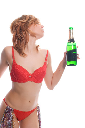 sexy girl with wine on white background Stock Photo - 1398410