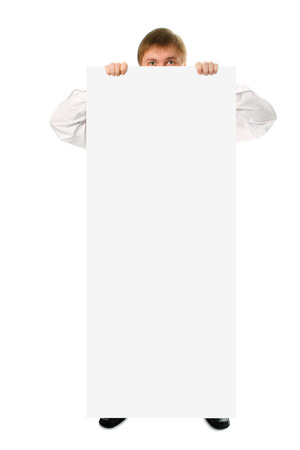 perfectly: businessman hold in hand big white poster on white background Stock Photo
