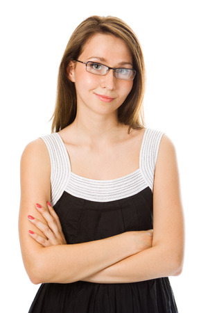 Close-up  businesswoman in glasses over white Stock Photo - 1405180