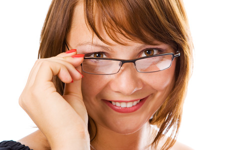 Close-up  businesswoman in glasses over white Stock Photo - 1457241