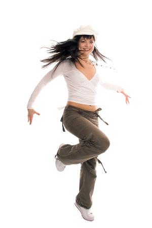 sorcery: beauty dancing teenager brunette girl on white background Stock Photo