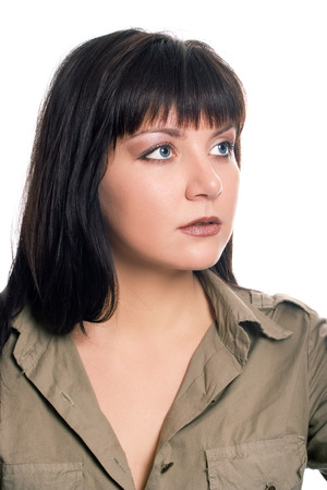 sorcery: beauty brunette soldier girl portrait on white background