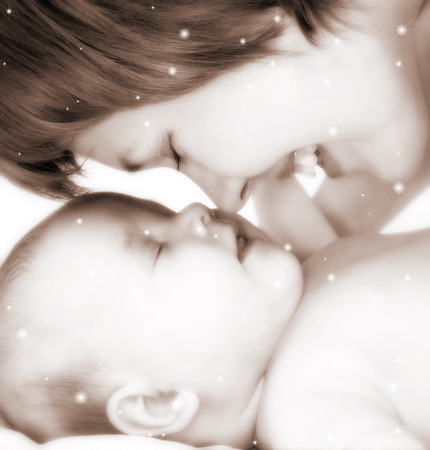 mother and baby in stars and sepia tones photo