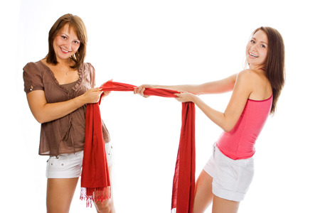 helthcare: beauty couple woman pull red scarf over white Stock Photo