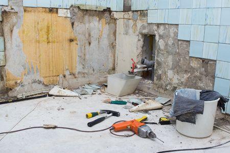 rout: old blue tile room repair