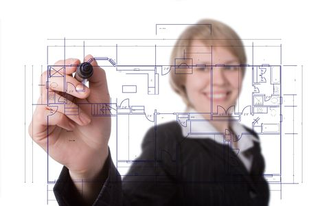 business woman draw graph over white photo