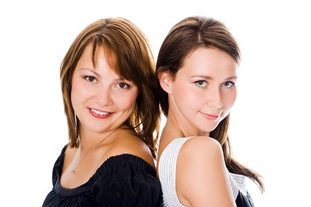 helthcare: beauty couple woman portrait over white