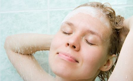helthcare: spa young beauty woman  under shower in bath room