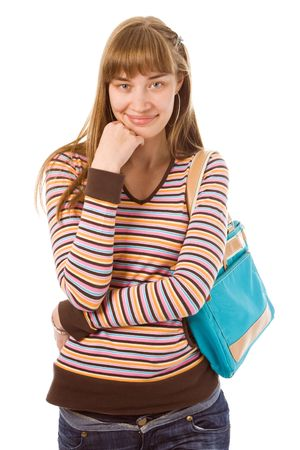 beauty young woman shopping with bag think photo