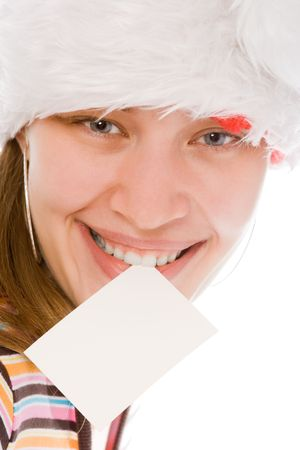 young beauty woman in red hat with white blank in teeth on white background photo