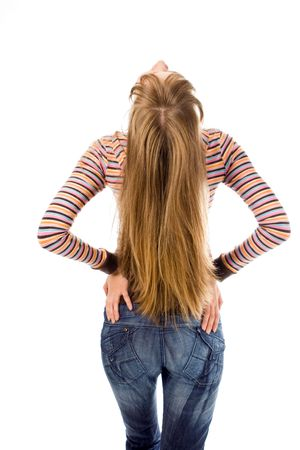 nice butt: young woman and magnificent hair back over white background Stock Photo