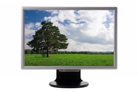 nature landscape in plasma monitor isolated over white photo