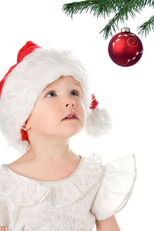 pretty  in santa claus christmas red hat over white background photo