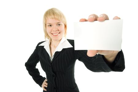 businesscard: pretty  businesswoman  presenting  business card over white background