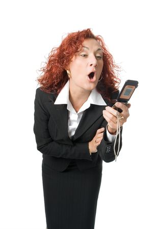 bawl: beauty business anger woman scream  into cell phone over white background