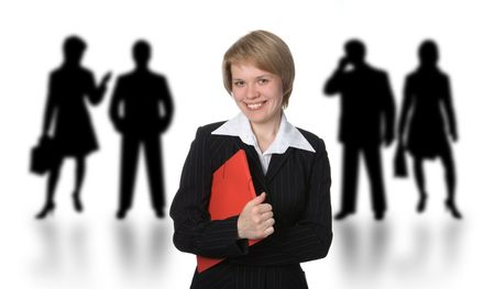 business woman with red folder over white photo