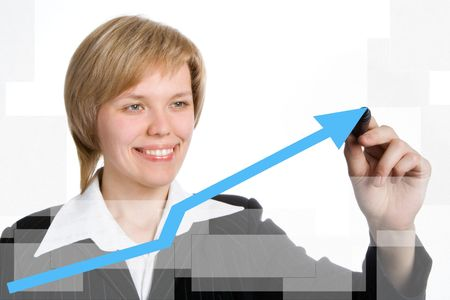 business woman draw graph blue arrow over white background Stock Photo - 2073519