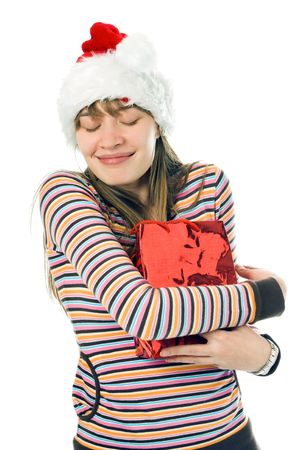 woman with hugging a shopping bag over white background photo