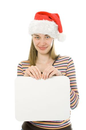 young woman with santa hat holding a white blank board on white background photo