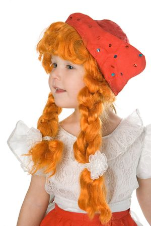 human likeness: pretty  in festival dress red hat and red plait over white background