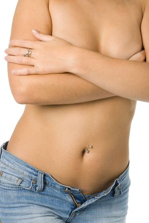topless woman in jeans isolated over white background Stock Photo - 2084804