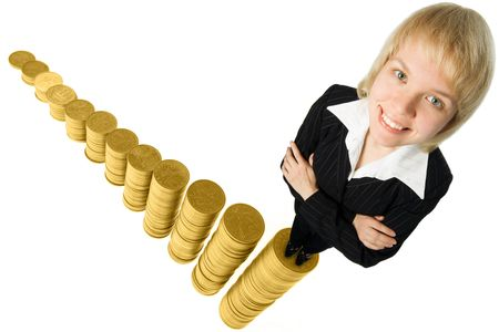 businesswoman standing on graph from money over white background Stock Photo - 2081357