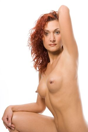 beautiful nude redheaded woman on white background Stock Photo - 2083370