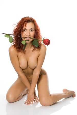 beauty girl with rose flower on white photo