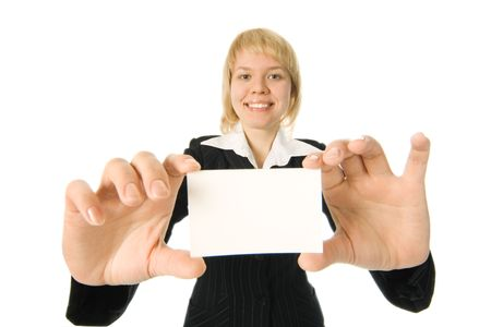 pretty  businesswoman  presenting  business card over white background photo