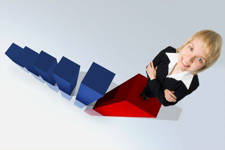 business woman and 3d graph Stock Photo - 2174898