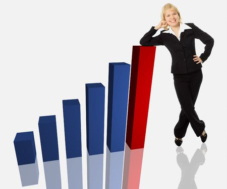 business woman and 3d graph Stock Photo - 2174897