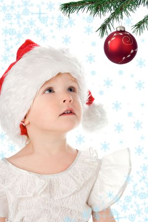 in santa claus christmas red hat and snowflake and starlet photo