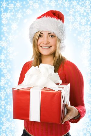 aureola: christmas girl in red hat with box gift and snowflake