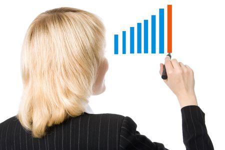 business woman stand back and draw graph over white background photo