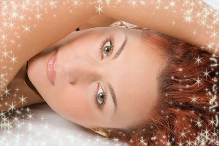 starlet: beauty redheaded close-up face portrait and starlet Stock Photo